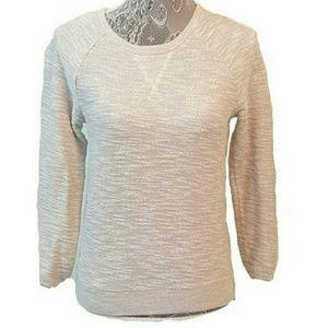 ANN TAYLOR LOFT Shimmer metallic Sweater side zip
